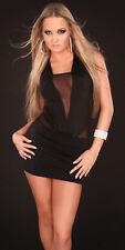 Sexy Mini Kleid Minikleid transparentem Ausschnitt Rückenfrei  Schwarz 34 36 38