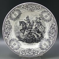 ANTIQUE BOCH FRERES 1799  BATTLE OF ZURICH NAPOLEON BONAPARTE PLATE BLACK WHITE