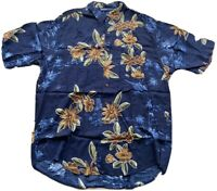 Vintage Nautica Men's Hawaiian Shirt Size XL Blue Aloha 100% Rayon