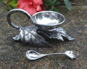 Ornate, Silverplated Leaf-Shaped Open Salt Dip, Cellar, Dish w/Leaf Spoon!