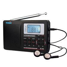 TIVDIO Portable DSP FM Stereo/MW/SW Radio World Band Receiver Digital Clock Top