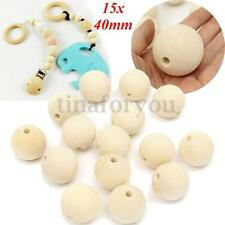 15pcs 40mm Natural Wooden Round Large Wood Ball Beads Unpainted Unfinished