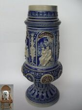 Vase 36,5 cm Keramik 2,4 kg Art Westerwald Relief Pokal Krug Böse Menschen ...