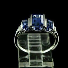 3Ct Emerald Blue Sapphire & Diamond 14K White Gold Over Engagement Wedding Ring