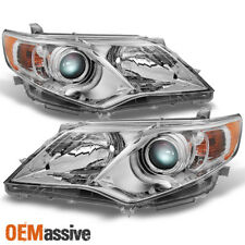 12-14 Camry Chrome Clear Projector Headlights Driver + Passenger Replacement Set