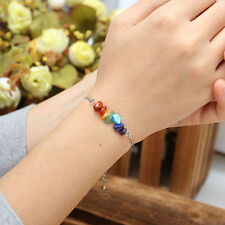 Tks Gift Silver Natural Gemstone Rubble 7 Chakra Rod Stretchy Bracelet Chain Hot