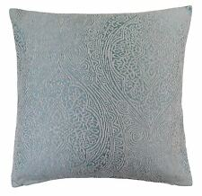 """LUXURY BAROQUE DUCK EGG BLUE THICK CHENILLE WOVEN CUSHION COVER 18"""" - 45CM"""