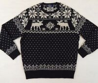 $295 Polo Ralph Lauren Crewneck Nordic Deer Moose Wool Sweater Jumper LT XLT 2XB