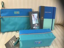 Sale!  Set Jewelry Cosmetic School Journal Pouch Zipper Bag Pens Turquoise Gift