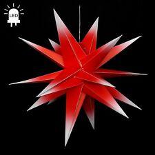 LED stella di Avvento Pieghevole Star Ø80 ALL'Aperto Natale 18zack Rosso/Bianco