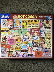 WHITE MOUNTAIN 1000 Piece HOT COCOA Jigsaw PUZZLE Chocolate Drinks COMPLETE