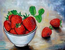 quadro ciotola con fragole olio moderno strawberries painting rosso natura morta