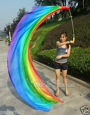 "1pc 2.7m*0.9m(9'x35"") Rainbow 5mm belly dance silk veil pois, steel chains"
