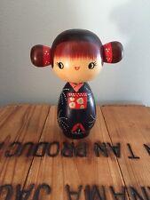 Usaburo Japanese Kokeshi Doll Hoshi's Blue Kimono Cute Pigtails Red Japan Wooden