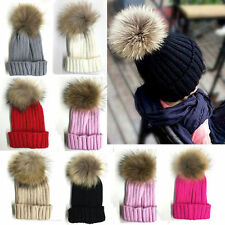 Fur Patternless Knitted Baby Caps & Hats