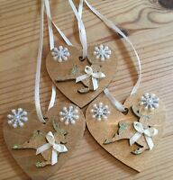 3 X Reindeer Christmas Decorations Shabby Chic Rustic Wood Heart Gold Cream
