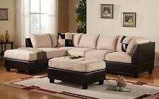 Mobilis 3 pc Modern Soft Reversible Microfiber and Faux Leather Sectional Sofa