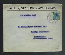 1917 Amsterdam Netherlands Censored Commercial Cover to USA Judaica M Rosenberg