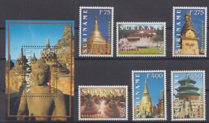 SURINAME 1998 BUDDHIST TEMPLES OF THE WORLD STAMPS + S/S MNH TOP51