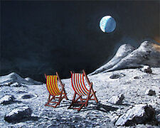 original oil painting :moon 2: deckchairs