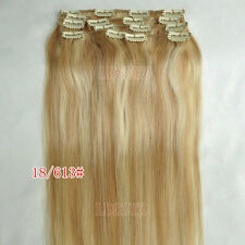 15''18''20''24''30'' Clip in Remy Extensions 100% Human Hair Full Head Cheap 7pc