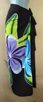 Sarong Hand Painted Bali Black Plumeria Pareo Dress Skirt  Beach Cover Up Wrap