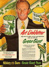 1950 vintage Food Ad Art Linkletter for GREEN GIANT Canned Corn and Peas 102515