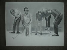 1974 Arnold Palmer, Player and Others Original Charcoal Artwork by Wexler – 1...