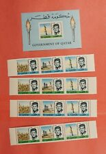 IMPERF + PERF QATAR JFK SPACE STRIPS OF 3 + S/S MNH