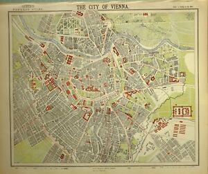 1882 LETTS MAP CITY OF VIENNA PLAN ARSENAL RAILWAY STATION SCHOOL
