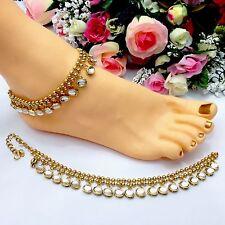 Indian Asian Bollywood Bridal Jewellery Ethnic Wear Polki Anklets Payal Pazaib