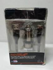 BlackWeb 4.8 AMP Dual-Port USB Car Charger with USB/USB-C Ballistic Fiber Black
