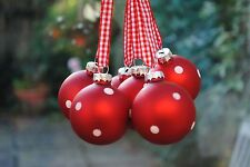 Set of 6 GLASS CHRISTMAS TREE BAUBLES decorations RED WHITE DOTS GINGHAM Ribbon