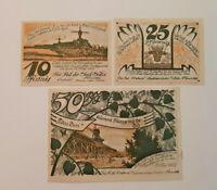 SÜLZE REUTERGELD NOTGELD 10, 25, 50 PFENNIG 1922 NOTGELDSCHEINE (12039)