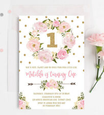 Floral First 1st Birthday Invitation Pink Gold Boho Confetti Tea Party Invite