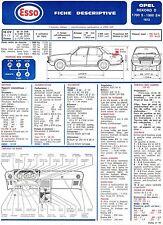 Fiche Descriptive Automobile pour Opel Rekord D - E.T.A.I - Fiche n° 77 - 1973