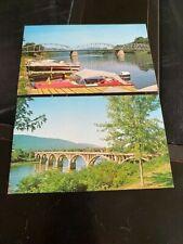 LOCK HAVEN PA Pennsylvania Postcard Boat Dock and Bridge Susquehanna River c1960