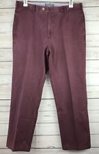Peter Millar Raleigh Washed Pima Cotton Chino Pants 35x30 Bordeaux