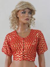 Orange  Sari Choli Blouse Belly Dancing Shinny Top Indian wedding All sizes