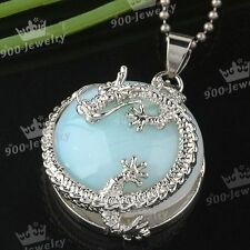 1pc Opalite Gemstone Dragon Wrap Coin Healing Bead Pendant For Necklace Jewelry