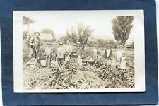 HOME FARM 8 CHILDREN w BASKETS,PICKED HARVEST after Scythe Cutting-c'15 AZO RPPC