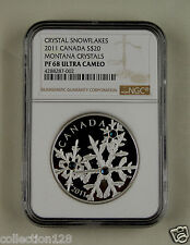 Canada Silver Coin 20 Dollars 2011,Blue Crystal Snowflake, NGC PF 68 ULTRA CAMEO