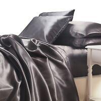 Satin Sheet Set King Size Charcoal Grey Silk Feel Luxury 4pc Bedding Set New