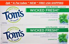 2pk Tom's of Maine Wicked Fresh AntiCavity Fluoride Toothpaste Spearmint Ice 4.7