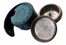 Antique Robert Frost Poem'' Engraved Antiquated Finish Brass Compass with Case