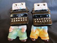 Vintage PY Typewriter Office Boys Anthropomorphic Salt & Pepper Shaker Set Japan