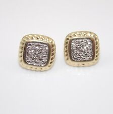 Solid 14K Yellow White Gold Diamond Cut Earrings GGJ