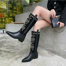 Womens Chic Leather Two Tone Embroidered Pull On Western Cowboy Boots Shoes MOON