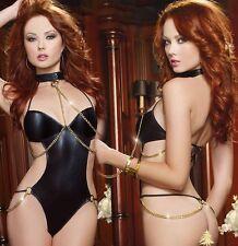 Lady Collar Lead Bondage Fetish Sexy Lingerie Black Spandex Chain Teddy G-String