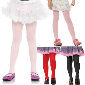 Girl Tights Plain Opaque Red Black Pink White Age 1 2 3 4 5 6 7 8 9 10 11 12 13